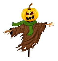 Scarecrow for Halloween isolated vector image