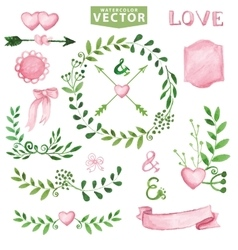 Watercolor Wedding setBrancheslaurels wreath vector image vector image