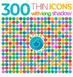 300 Thin Icons With Long Shadow vector image vector image