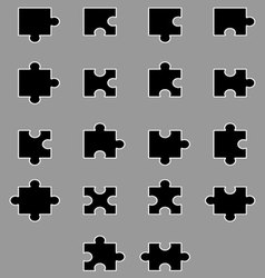 Diverse set of black silhouette puzzles vector image vector image
