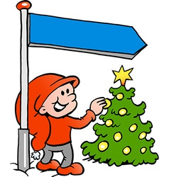 Hand-drawn of an Happy Christmas Elf looking at a vector image