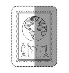 monochrome frame with world map and set of the vector image