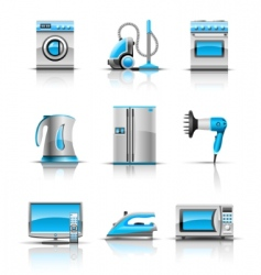 set icon of household appliances vector image vector image