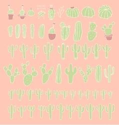 Big set cactus succulents vector image