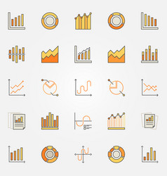 colorful diagram and graph icons vector image vector image
