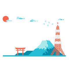 flat design japan landmarks background vector image vector image