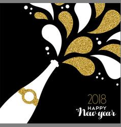Happy new year 2018 gold glitter bottle splash vector