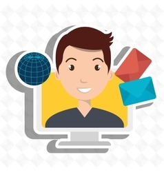 man laptop global message vector image vector image