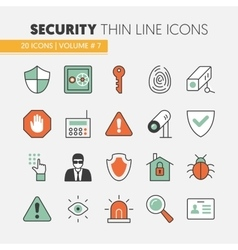 Security and Safety Thin Line Icons Set vector image