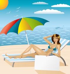 sexy woman in bikini on the beach with epmty board vector image