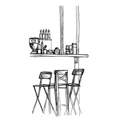 sketch of bar counter vector image