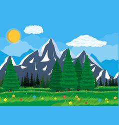 summer nature mountain landscape national park vector image