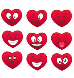 valentine s set of heart smiles vector image