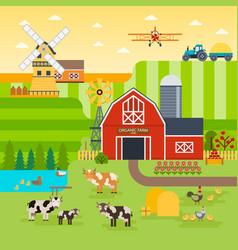 farm flat landscape organic food concept vector image vector image