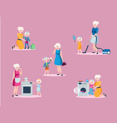 mother and daughter spend leisure together vector image