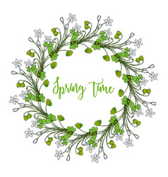 spring wreath with wood sorrel flowers vector image vector image