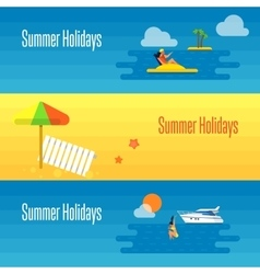 Summer Holidays Banner with Beach Umbrella vector image vector image