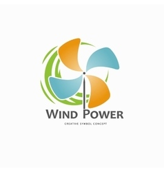 Wind power logo design template vector image vector image