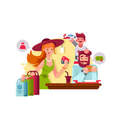 young family shopping vector image
