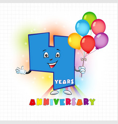 4 anniversary funny digits vector