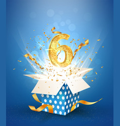 6 th years anniversary and open gift box vector