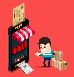 A man use credit card for buy from online store vector