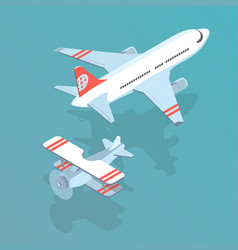 Airplane and biplane vector