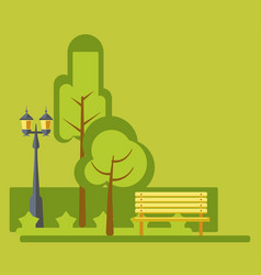 Amusement park green landscape stret lights and vector