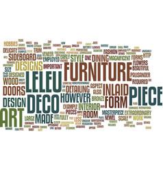 Art deco furniture a leleu masterpiece text vector