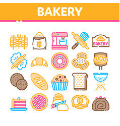 Bakery tasty food collection icons set vector