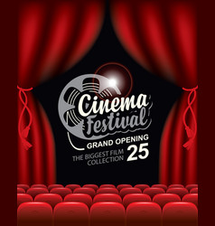 banner for cinema festival with empty movie hall vector image