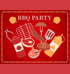 barbecue party poster or invitation with bbq meat vector image