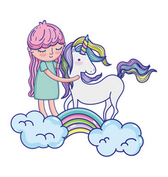 Beauty unicorn with nice girl in the rainbow vector