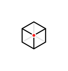 black cube logo with red point vector image