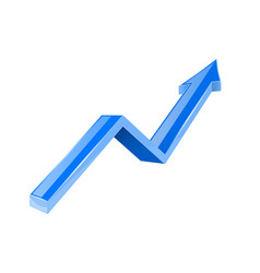 blue arrow up growing 3d shiny icon vector image