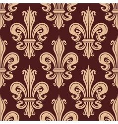 Brown and beige seamless fleur-de-lis pattern vector image