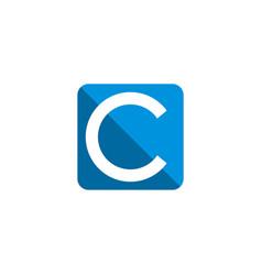 c letter blue square logo template design eps 10 vector image