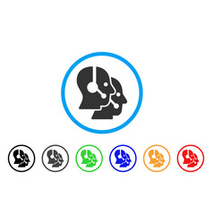 Call center operators rounded icon vector