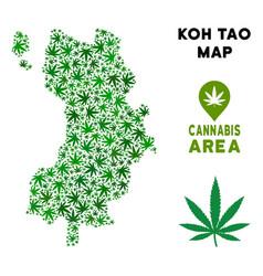 Cannabis mosaic koh tao thai island map vector