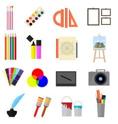 Cartoon art color icons set vector