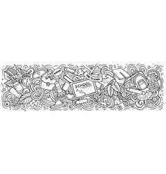 cartoon cute doodles school banner design vector image