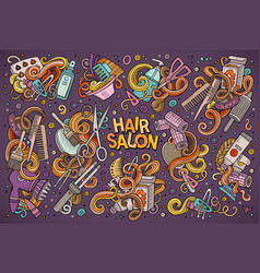 Cartoon set of hair salon theme doodles vector