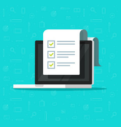 check list document and laptop vector image