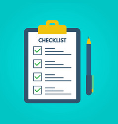 checklist with tick marks in a flat style vector image