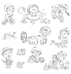 Children play with toys vector