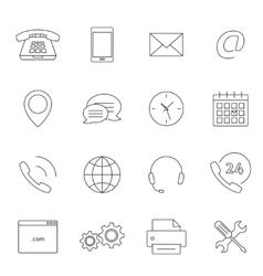 Contact us outline icons vector image