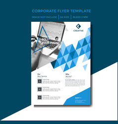 corporate flyer template with blue color vector image