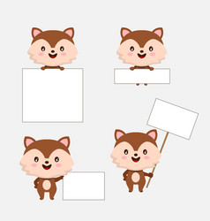cute animal with blanks for text in cartoon style vector image