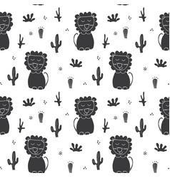 Cute lion seamless pattern cartoon hand drawn vector