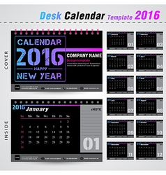 Desk calendar 2016 modern template for office vector image